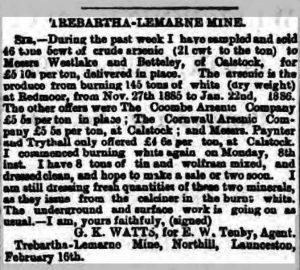 Trebartha Lemarne arsenic correspondence February 1886