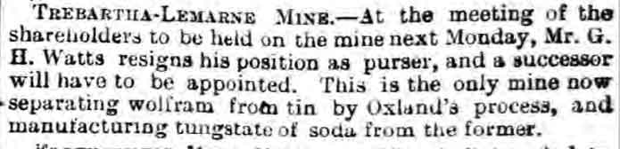 Trebartha Lemarne mine report April 1886