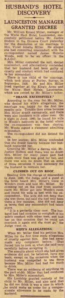 W. E. Miller July 1941 divorce case