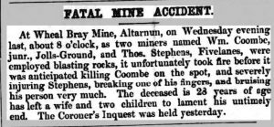 Wheal Bray Mine fatality from the Cornish Times 18 December 1858