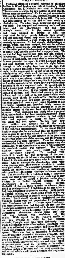 Wheal Luskey Report from September 1881