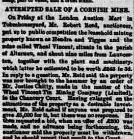 Wheal Vincent sale 03 November 1883