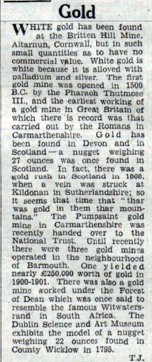 White Gold found at buttern Hill Mine from the Western Daily Press 04 January 1946