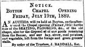 Boyton Chapel sale July 13th, 1889
