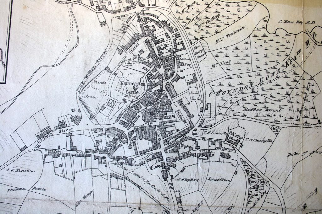 Launceston town centre map for 1842