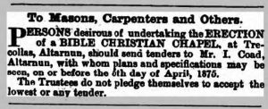 Tender advert for the erection of the Chapel building at Trecollas from April 3rd, 1875
