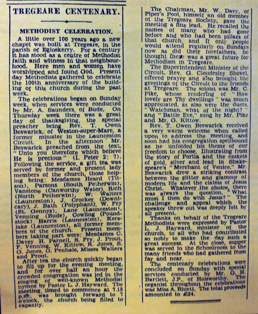 Tregeare Chapel Centenary Celebrations 1947