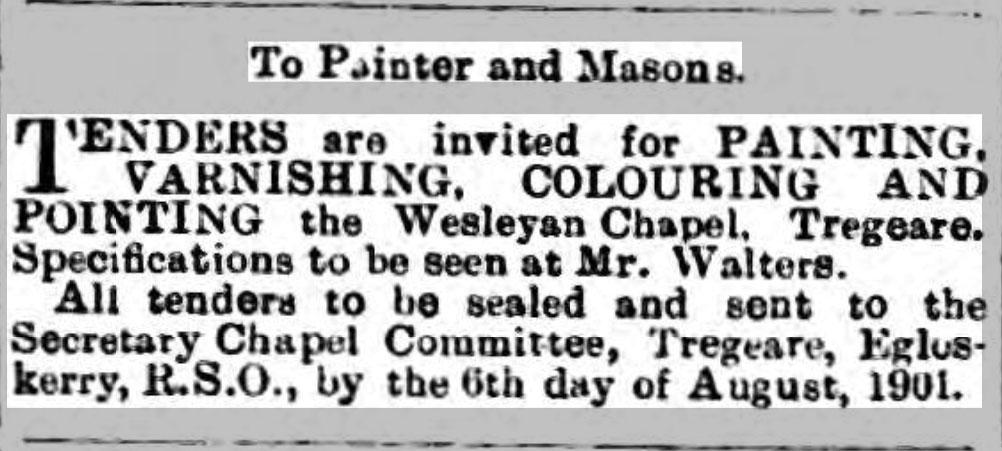 Tregeare Chapel tender 03 August 1901