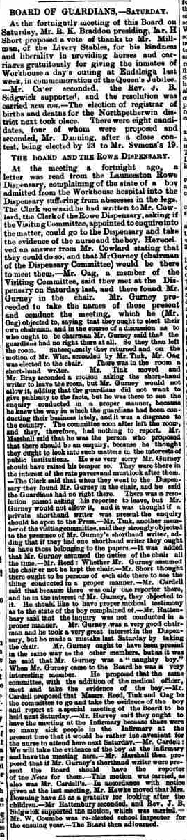 Launceston board of guardians 02 July 1887