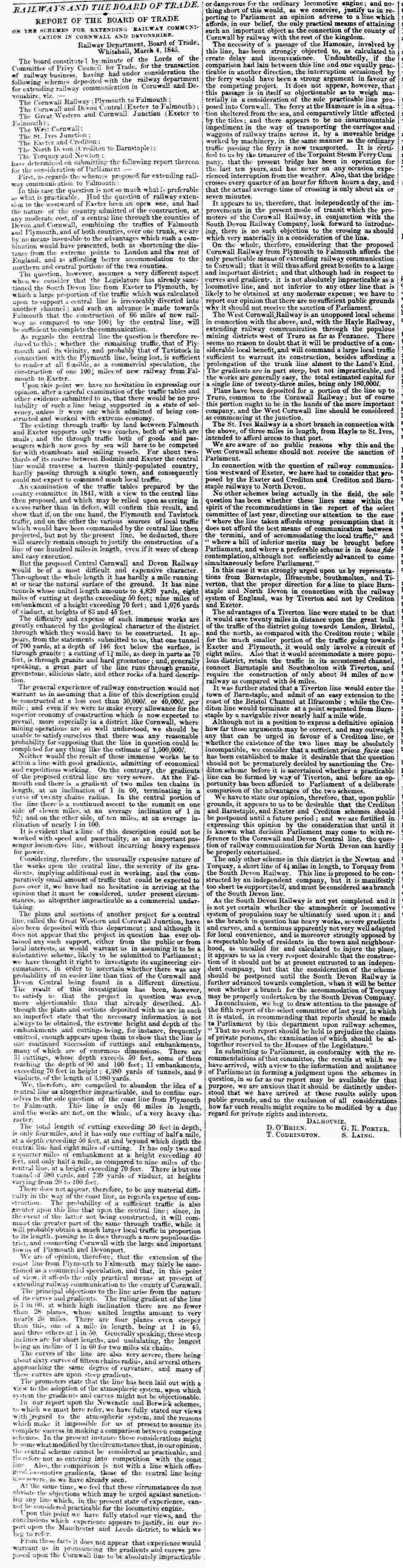 Board of Trade report 07 March 1845