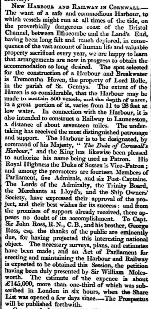 Tremoutha Harbour scheme 11 March 1836
