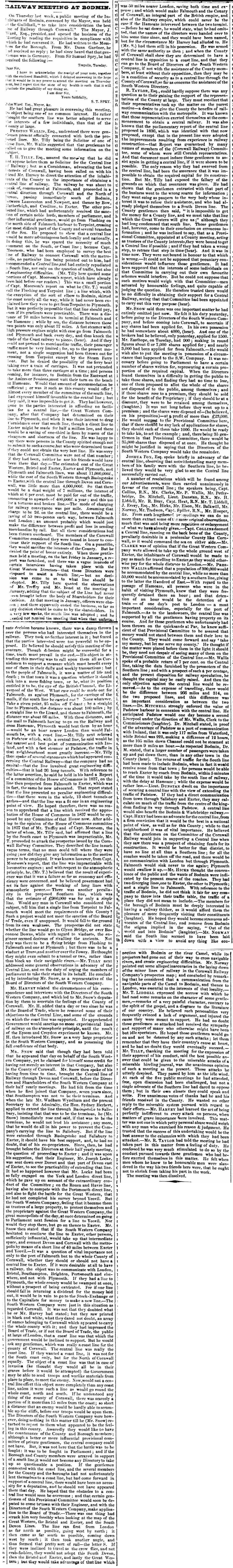 Bodmin Meeting 01 November 1844