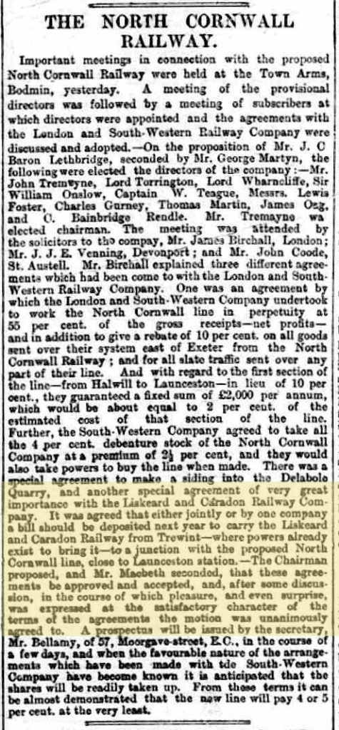 North Cornwall Railway meeting 27 July 1883