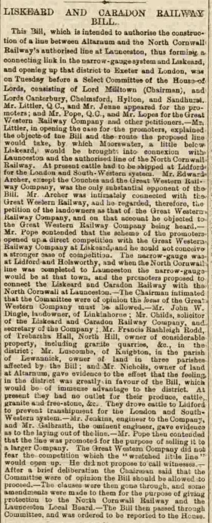 Liskeard and Caradon Railway 28 March 1884
