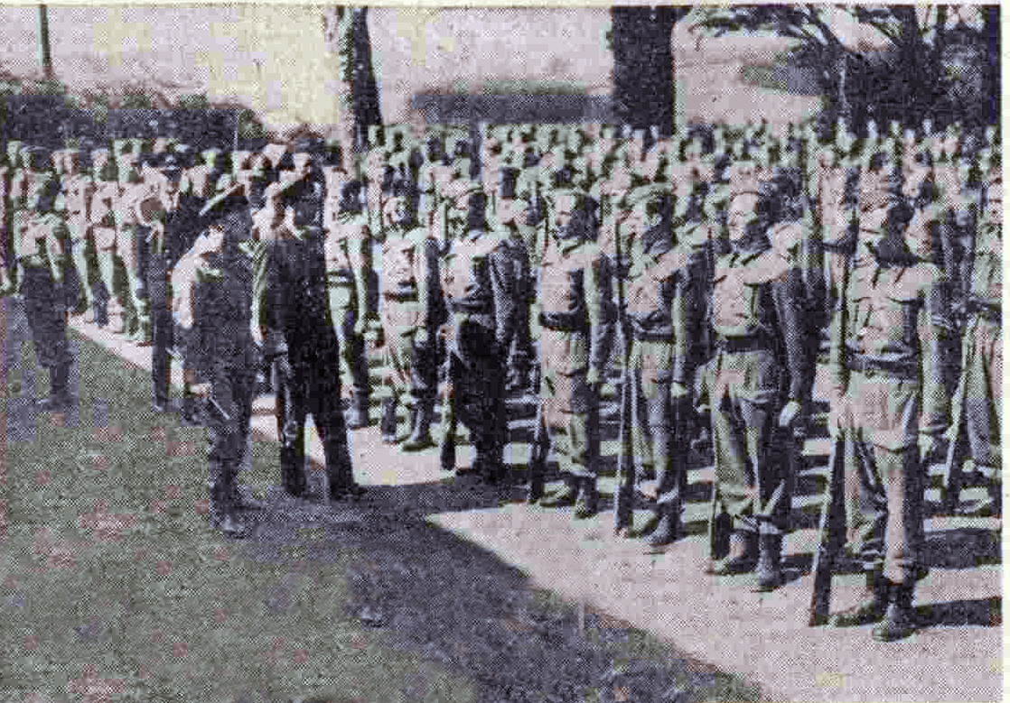 King George VI inspects Stoke Climsland Homeguard in May 1942.