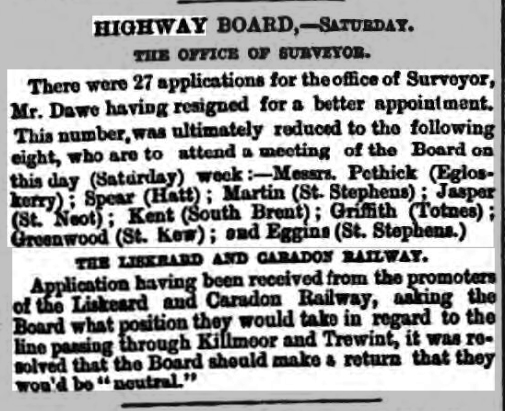 Launceston area Highway board 23 December 1882