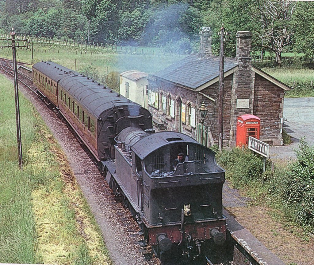 4555 at Coryton Station with the two coach 12.40pm Launceston to Plymouth service 23rd June 1962