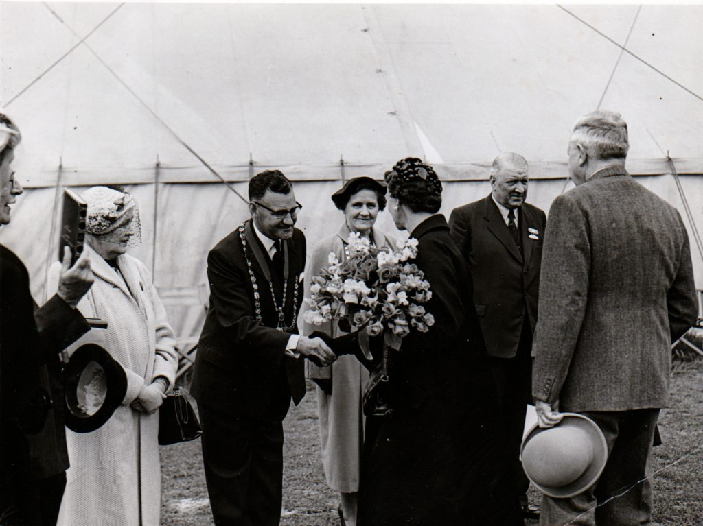 Cecil Robins greets the Duchess of Kent, Princess Marina