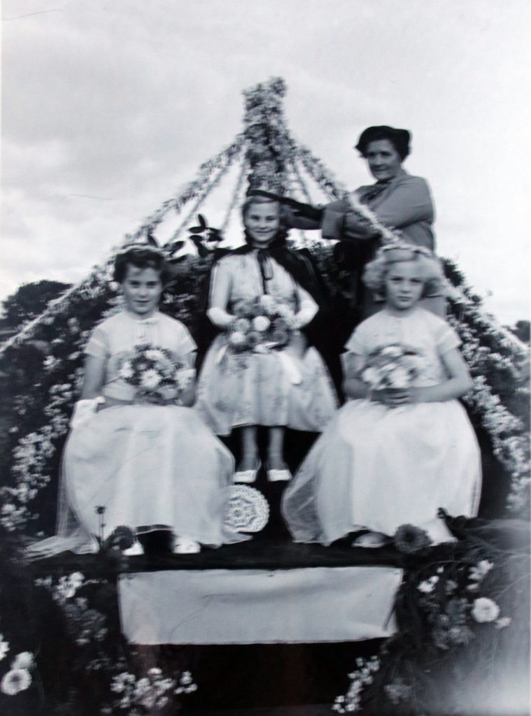 Crowning of the 1955 Jacobstow Carnival Queen by Gwendoline Robins