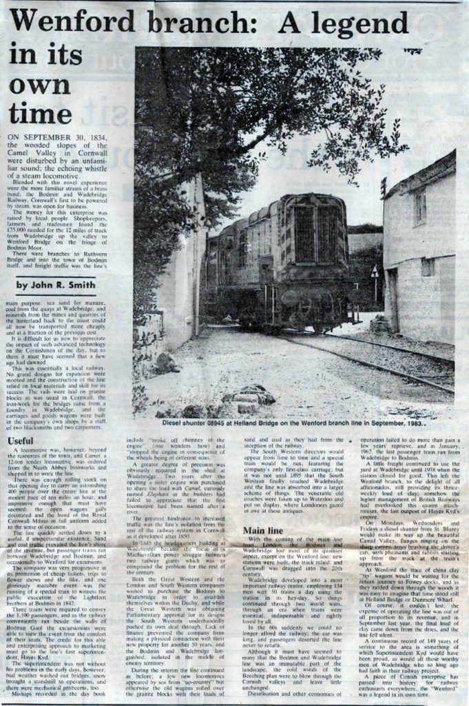 19 June 1984 article on the Wenford Branch