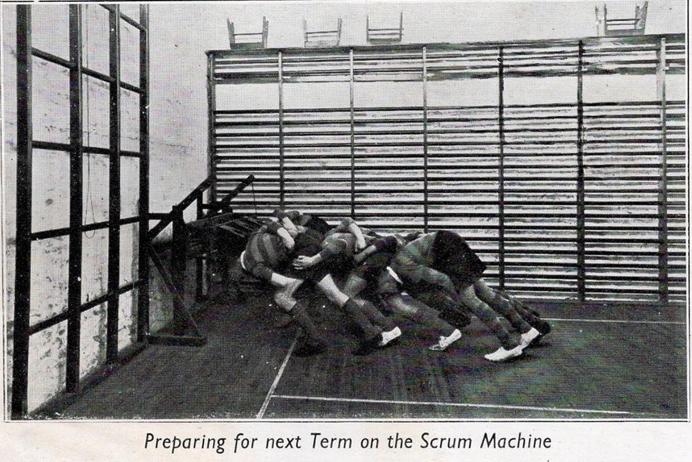 1938 preparing for that seasons rugby scrum at Launceston College