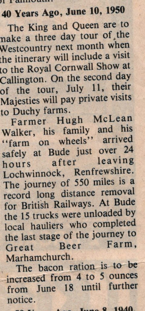 1950 article on a farm move by rail