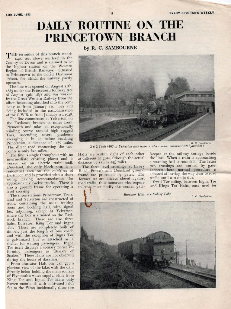 1956 article on the Princetown Line
