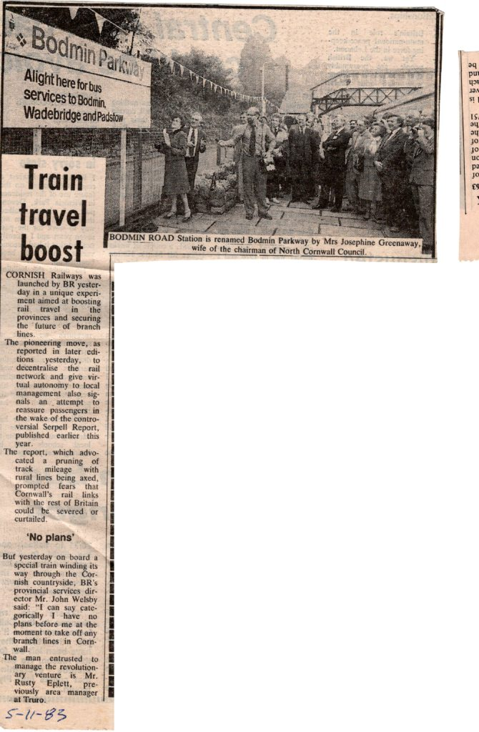 1983 renaming of Bodmin Parkway