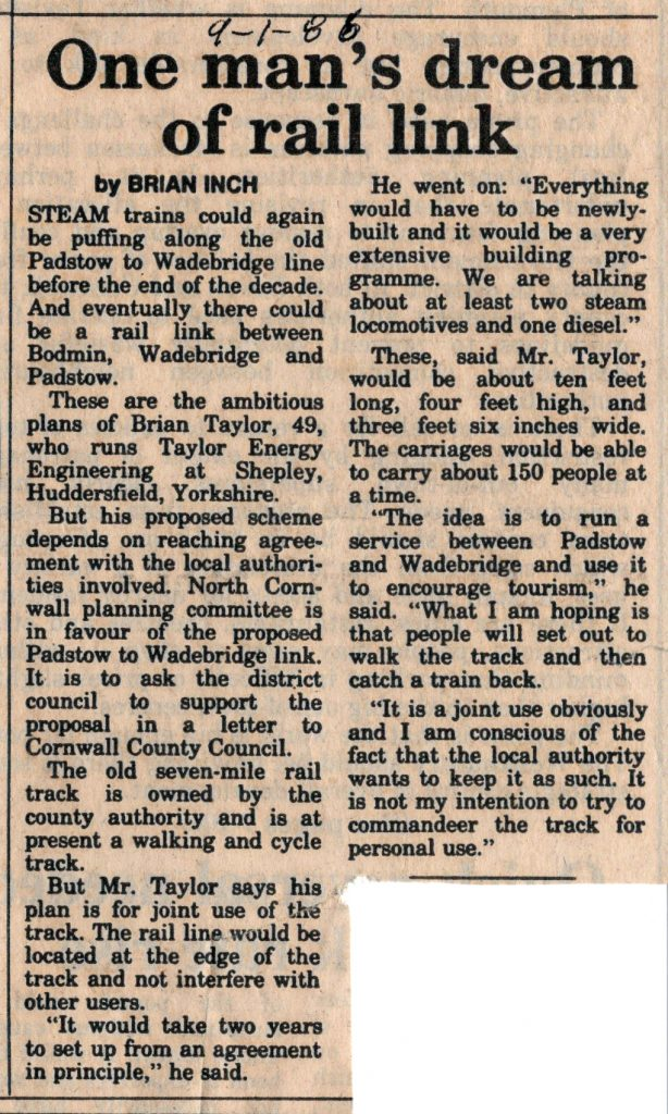 1986 article on the re-opening of the Padstow to Wadebridge Line