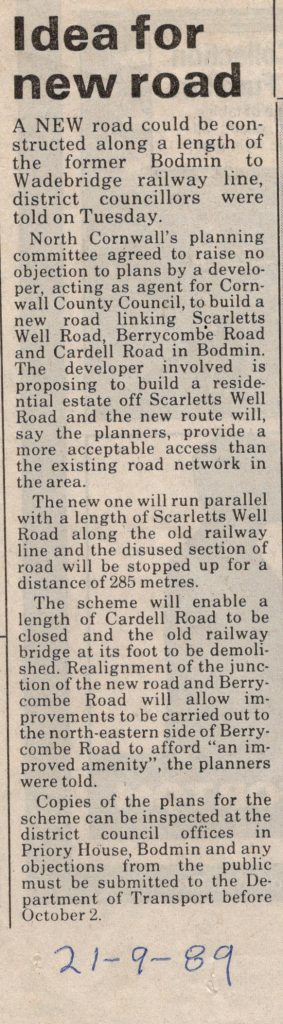 1989 article on running a road along the old railway to Padstow.
