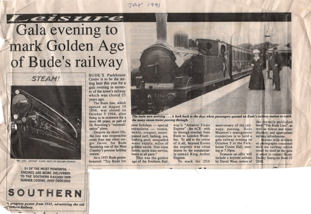 1991 article on Bude Railway Station