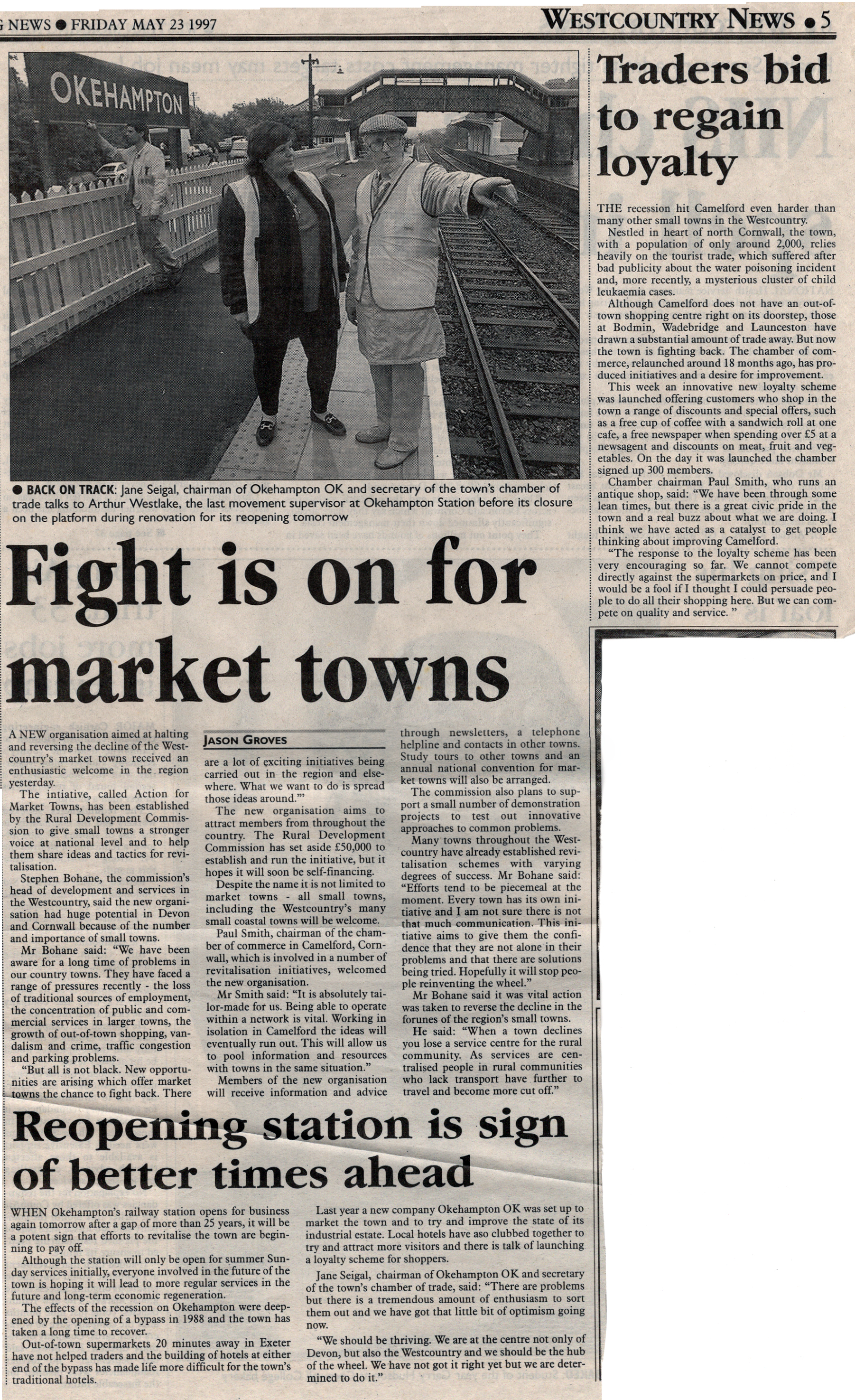 1997 article on the re-opening of Okehampton Station.