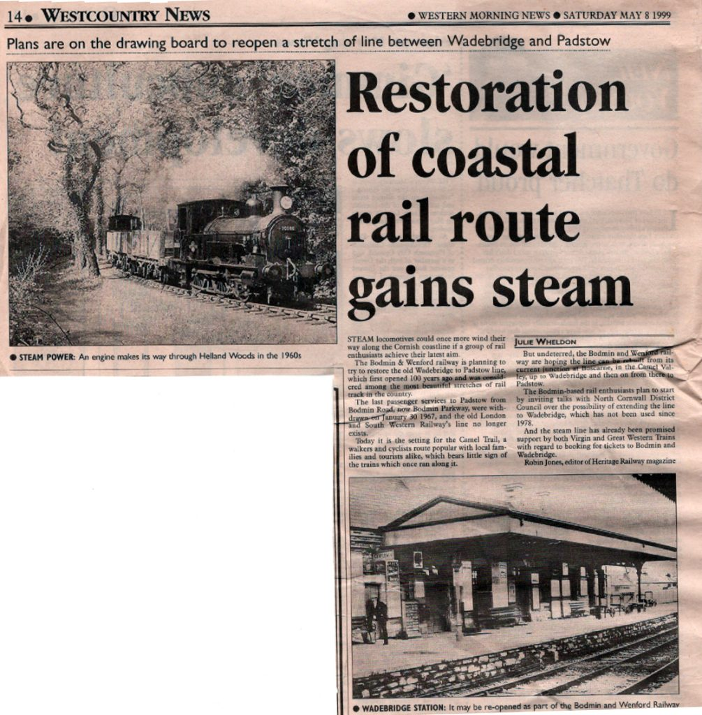 1999 article on th re-opening of the Bodmin to Wadebridge route.