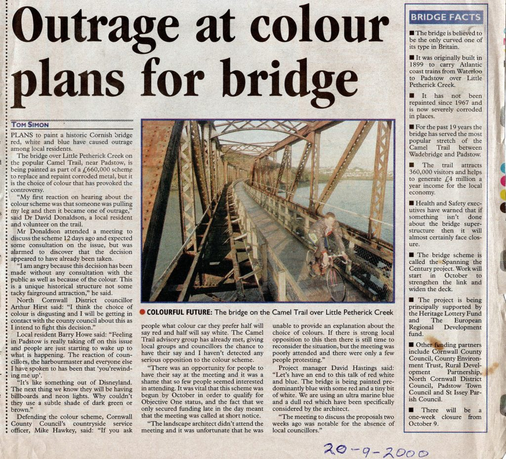 2000 article on Little Petherick Creek Bridge