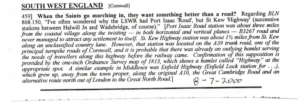 2000 article on Port Isaac Road Station