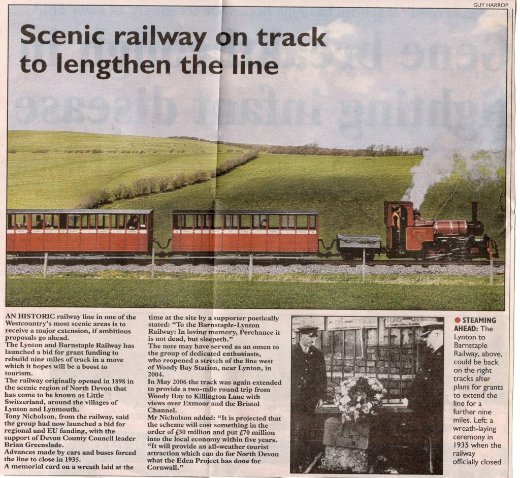2007 article on the Lynton to Barnstaple railway