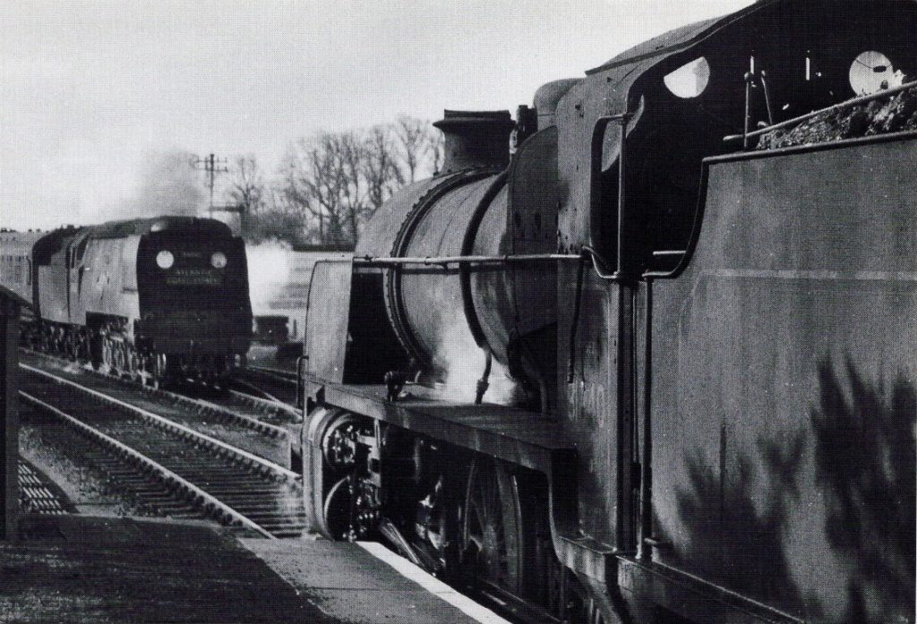 34085 with the up ACE passing 31840 at St. Kew April 22 1960