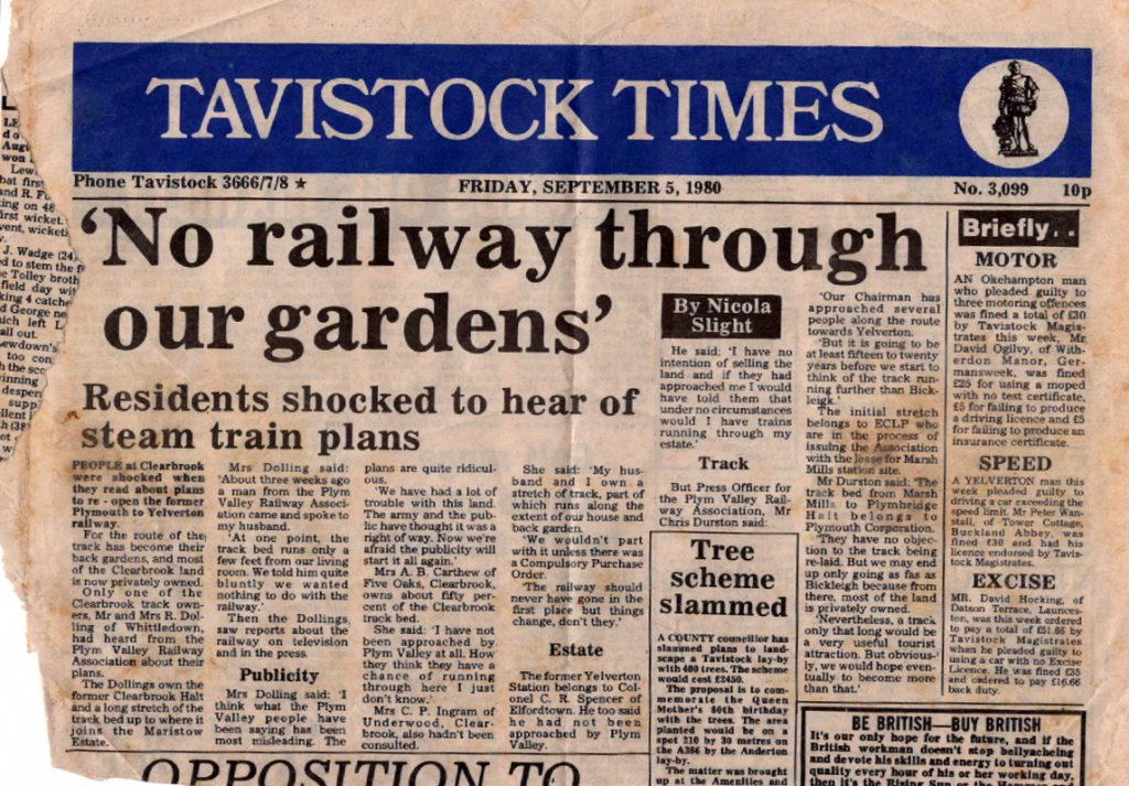 Article on re-opening the rail line at Yelverton Sept 1980