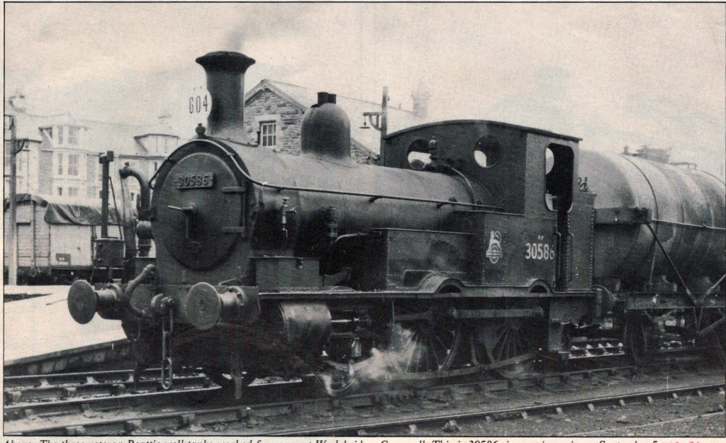 Beattie well-tank 30586 on September 5th, 1956 at Wadebridge.