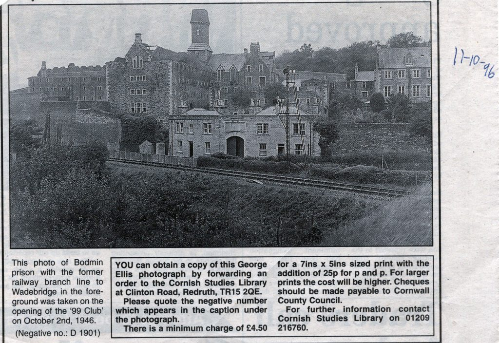 Bodmin Gaol with the rail track running below in 1946