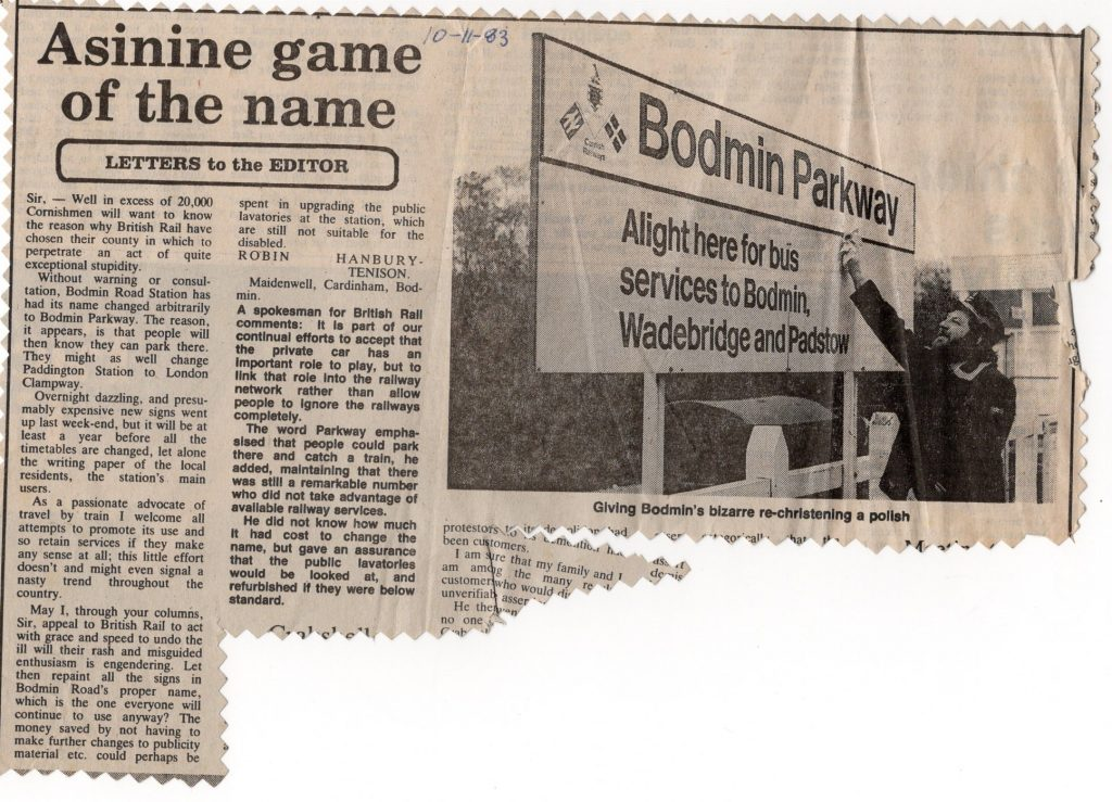 Bodmin Parkway name change letter 1983