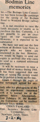 Bodmin and Wenford Railway Article 1984