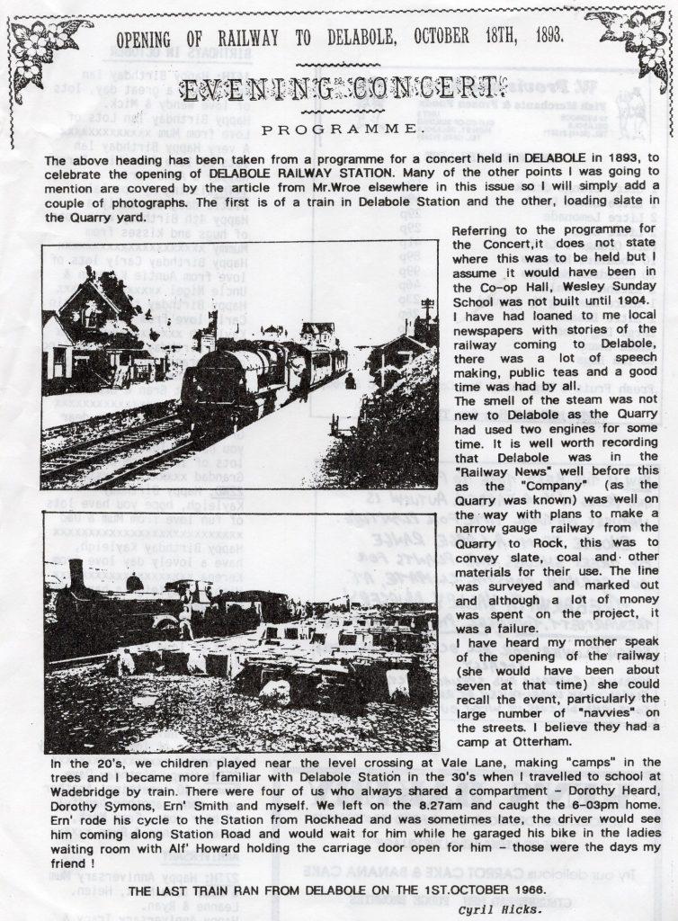 Delabole Railway Station history