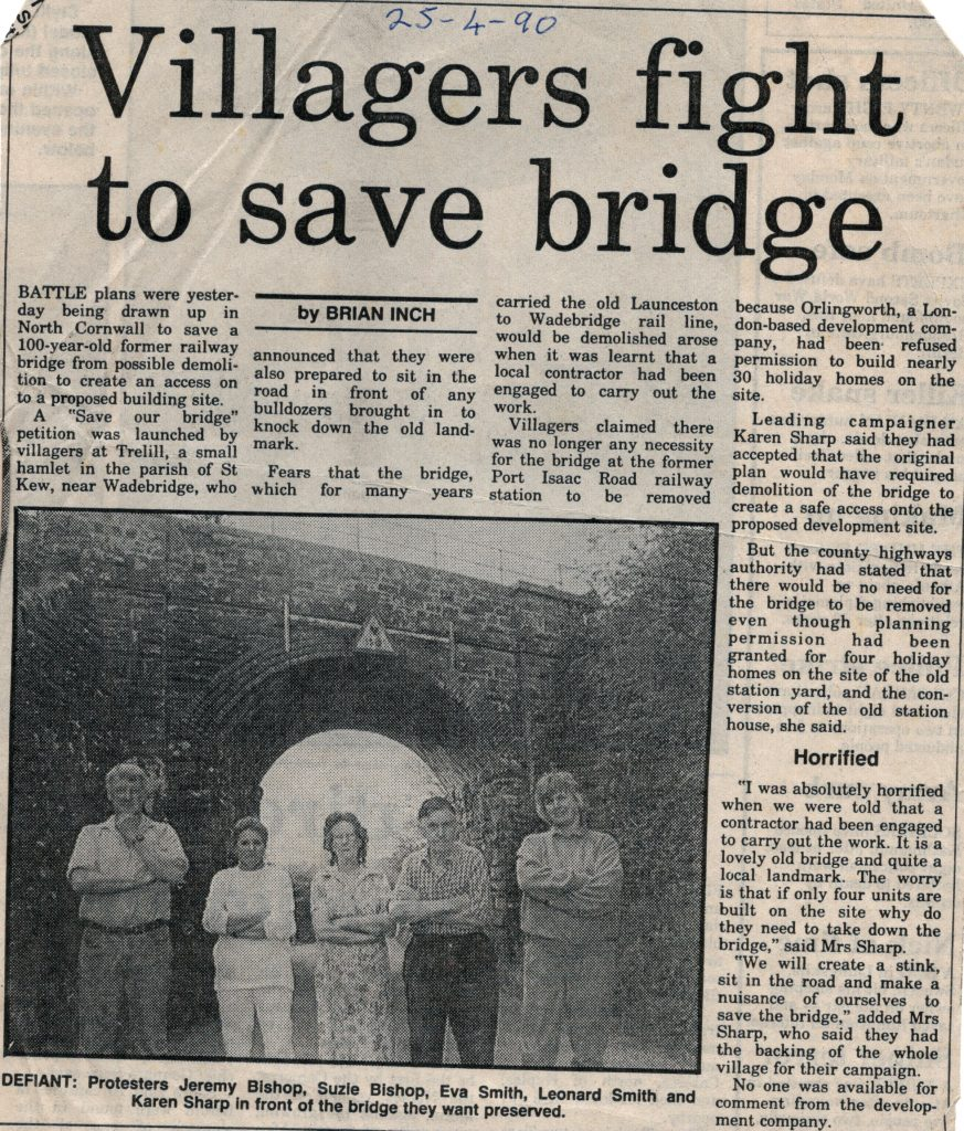 Fight to save Trelill Bridge in 1990