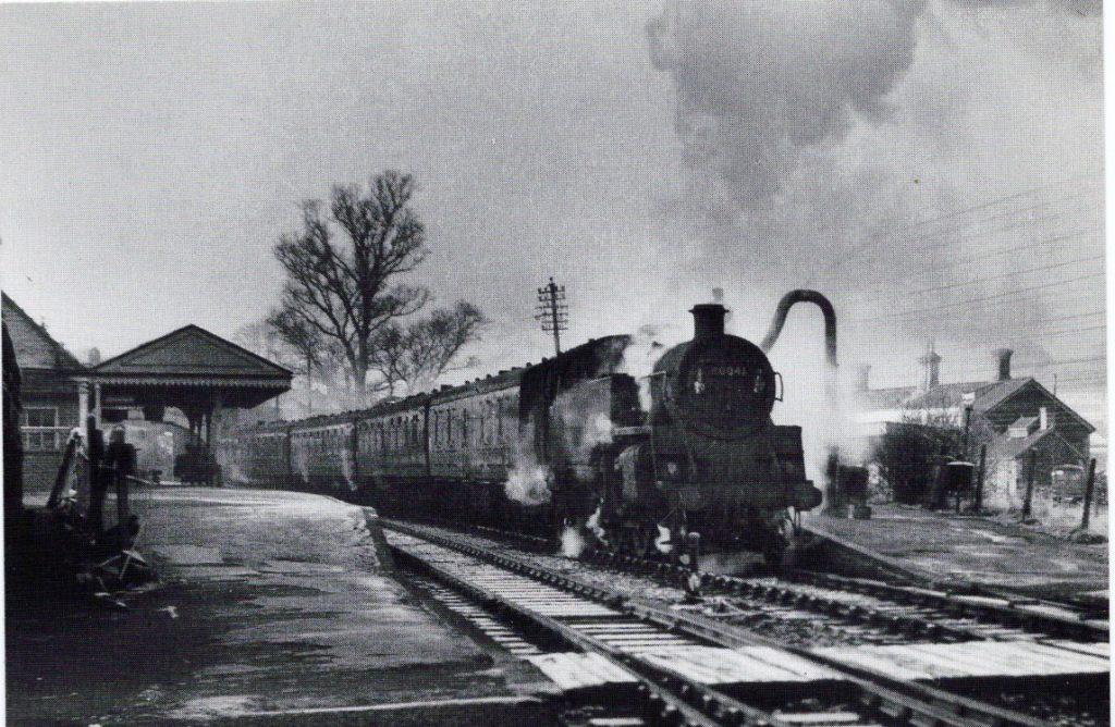 Frosty day at Launceston with 80041 preparing to depart for Okehampton on Dec 15 1964