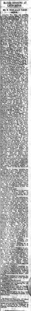 Launceston Mayor choosing report 11 November 1911