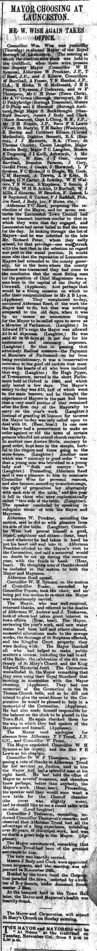 Launceston Mayor choosing report 11 November 1911