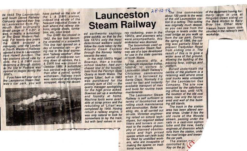 Launceston Steam Railway 1992