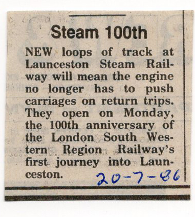 Launceston Steam railway article from 1986