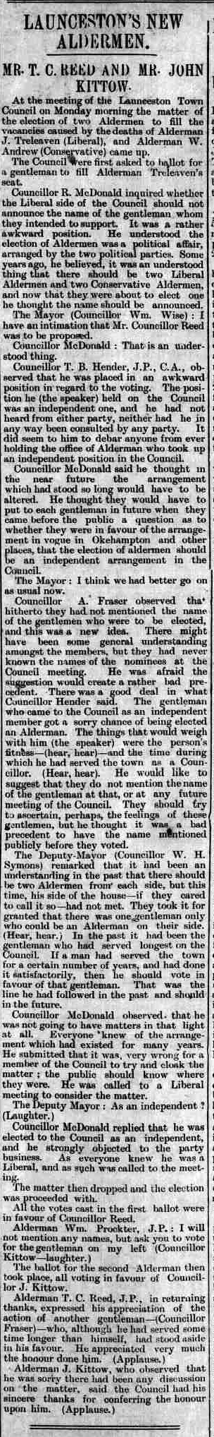 Launceston's new aldermen 25 February 1911